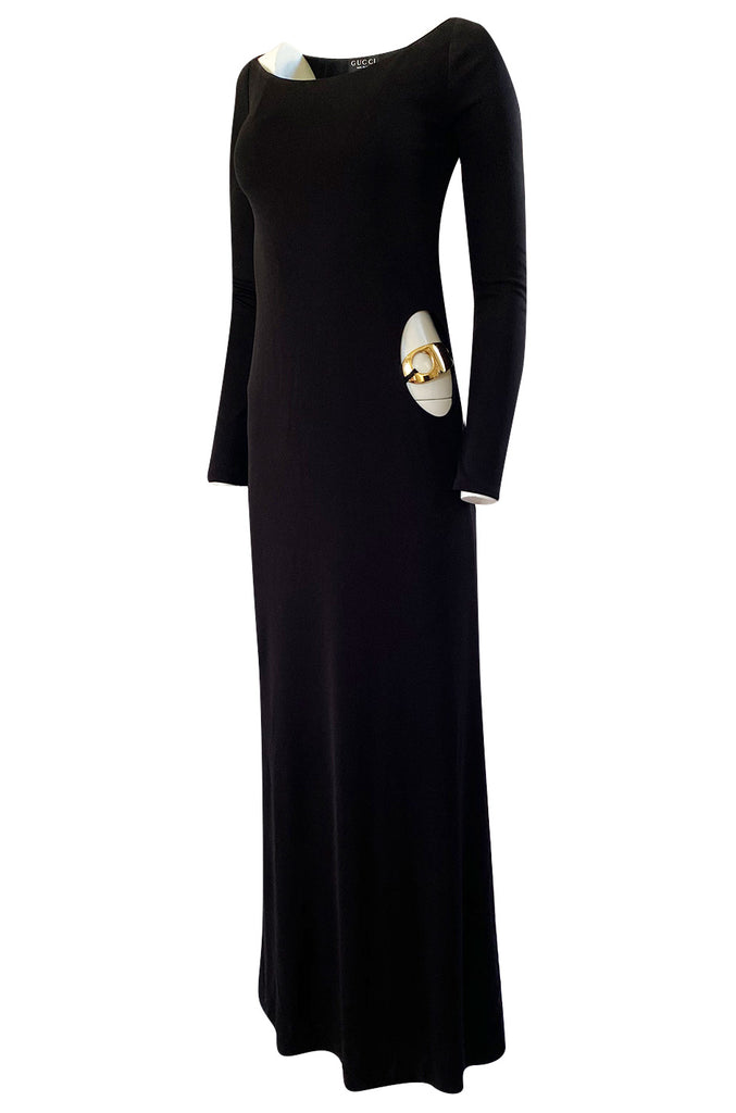 Important Fall 1996 Tom Ford for Gucci KeyHole Gown w Gold G-string Belt