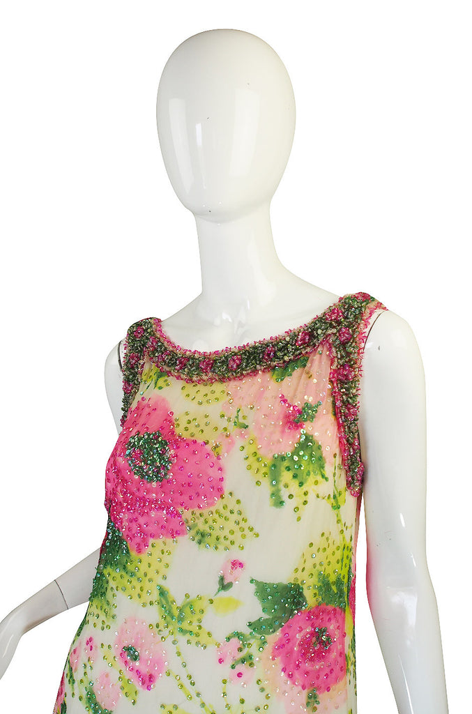 Extraordinary 1960s Sequin, Bead & Silk Chiffon Dress