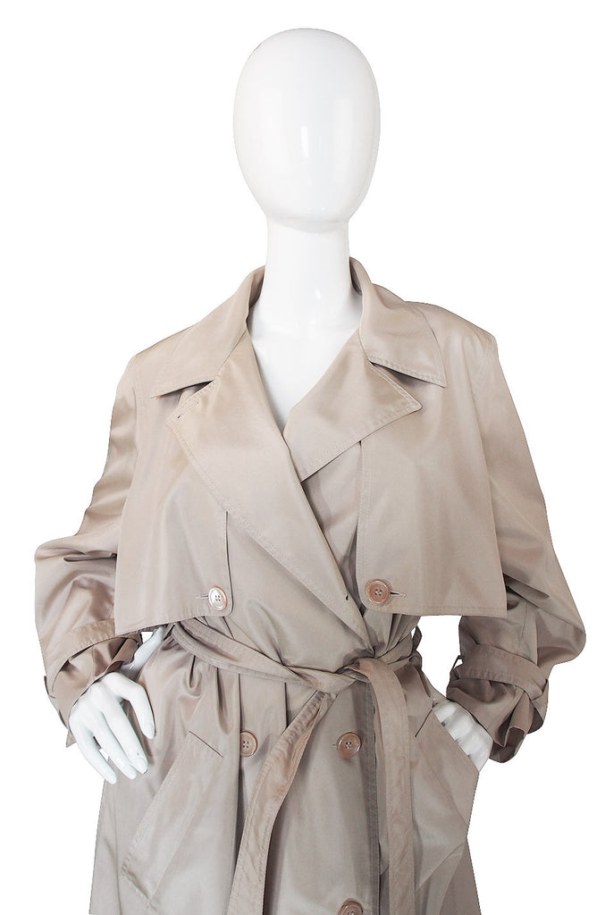 1980s Silk Look Celine Camel Trench Coat