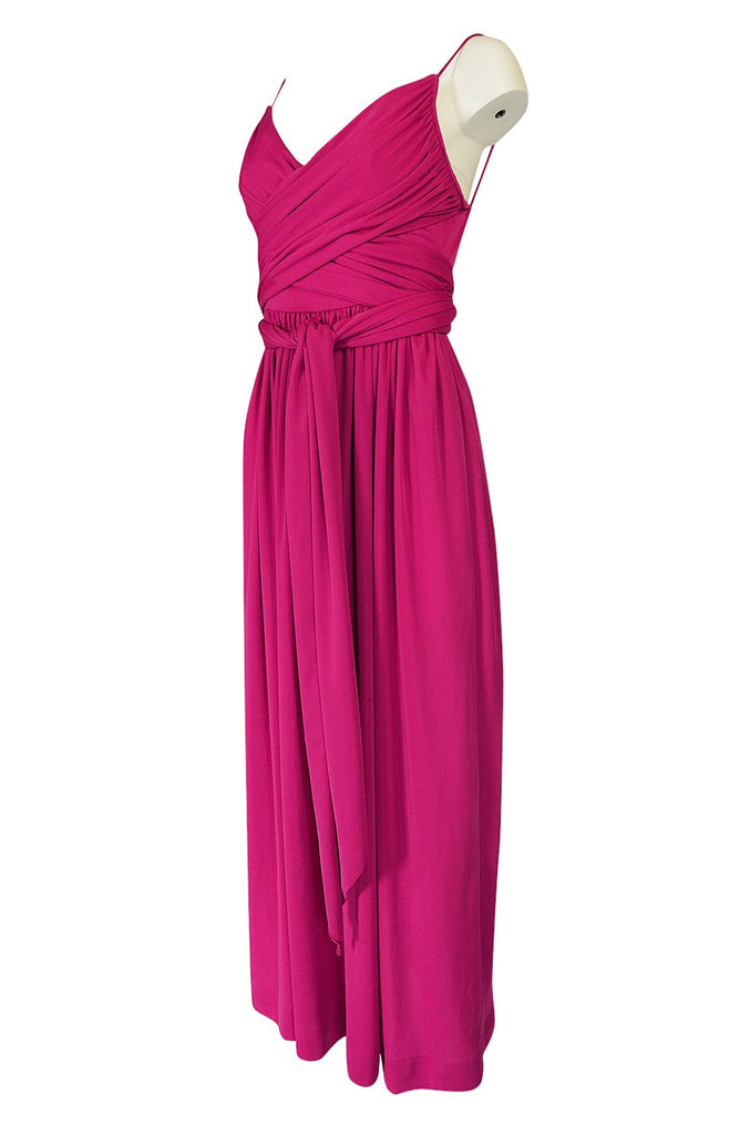 1970s Marita by Anthony Muto Pink Jeresey Wrapped Halter Dress