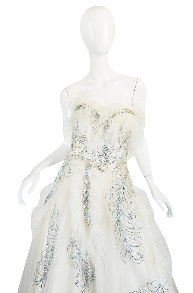 Extraordinary 1960s Feather & Rhinestone Strapless Gown