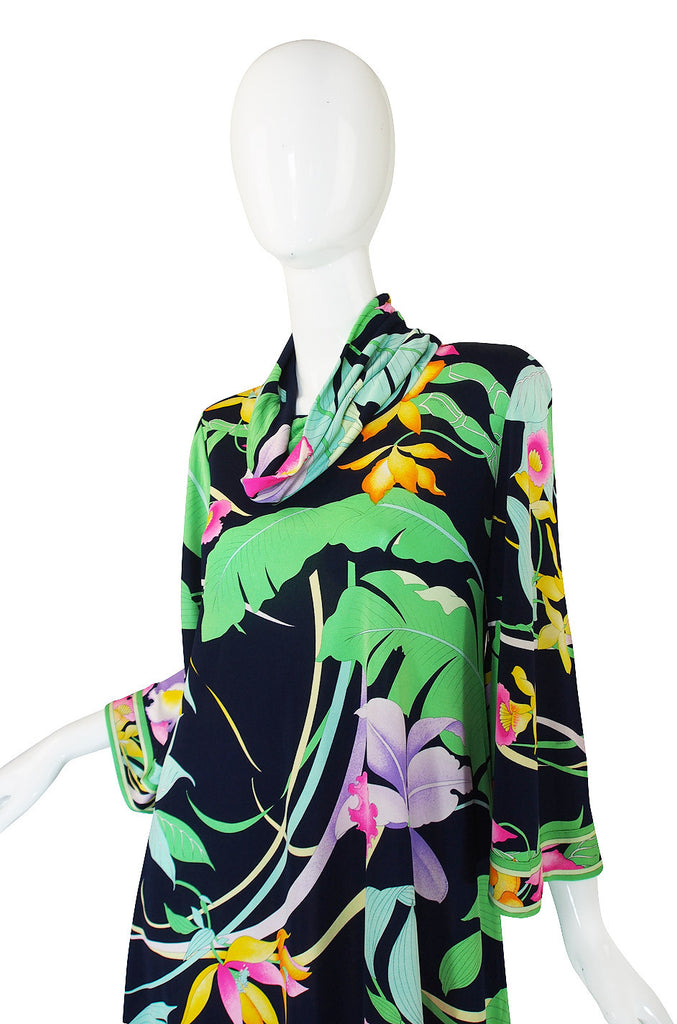 1970s Leonard Bell Sleeve Silk Print Dress