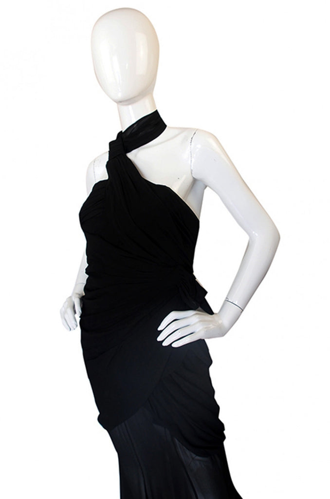 Rare 1980s Thierry Mugler One Shoulder Silk & Sheer Dress