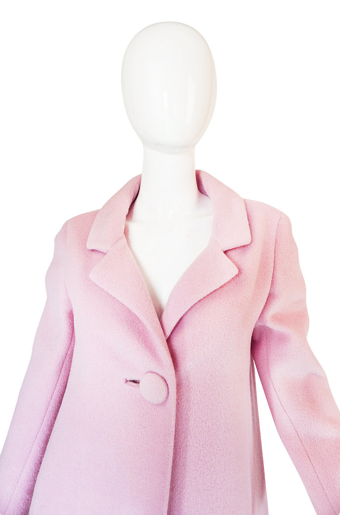 1960s Anne Klein Pink Wool Coat