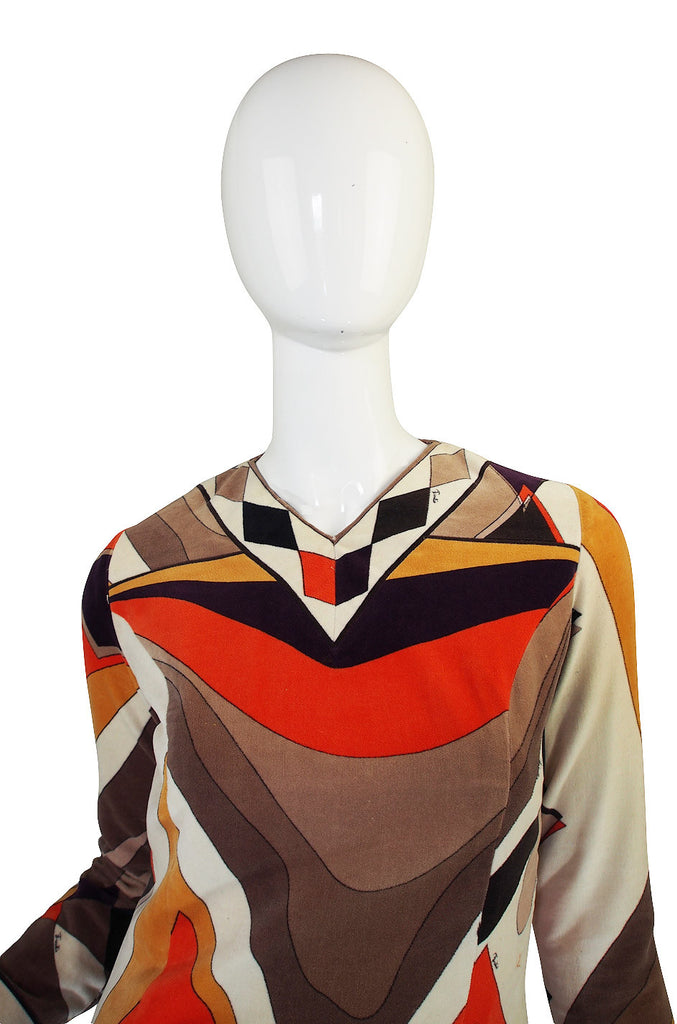 1960s Beautiful Autumn Velvet Pucci Shift Dress