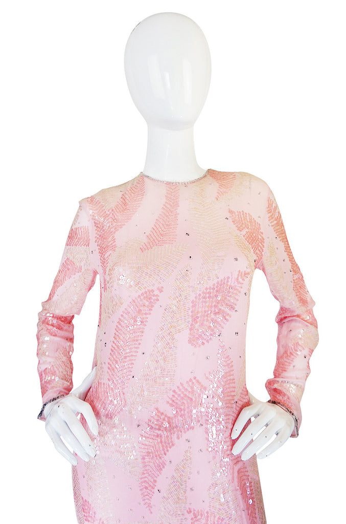 1970s Sequin Covered Pink Silk Chiffon Halston Dress