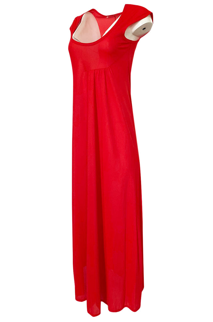 1970s John Kloss Red Nylon Jersey Asymmetrical Lingerie Dress