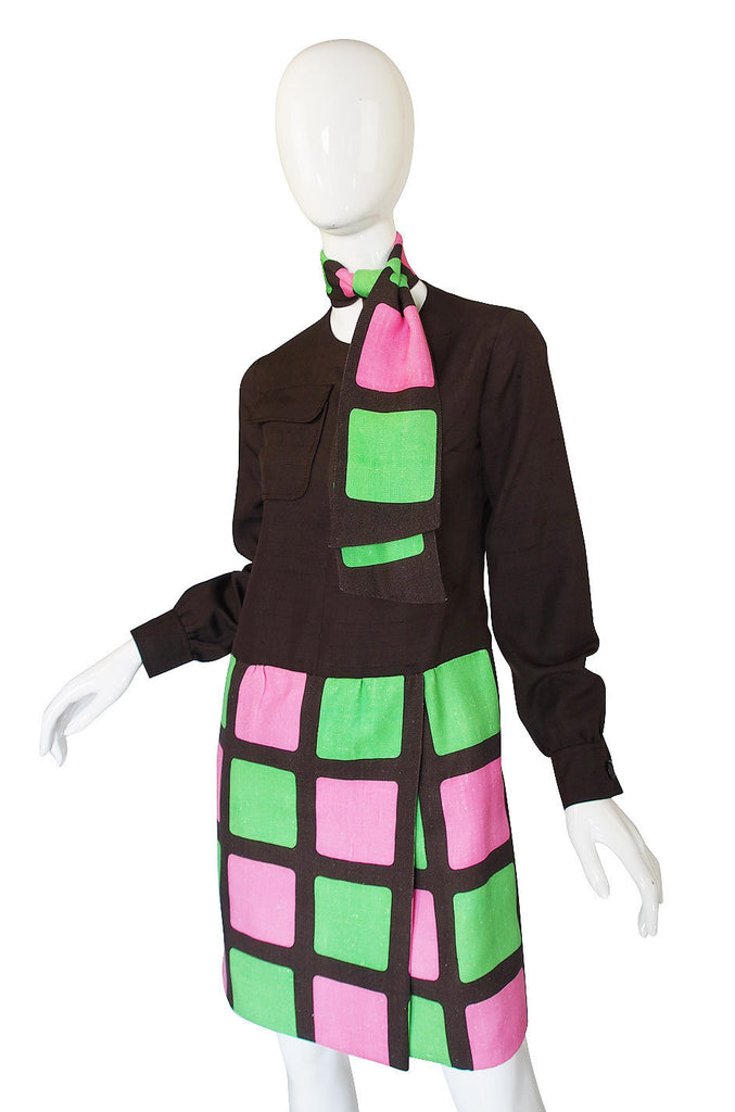 1960s Graphic Heinz Riva Linen Shift Dress