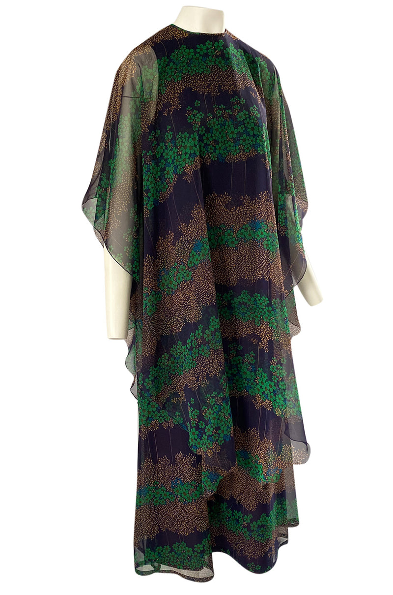 1970s Jean Varon Printed Green & Deep Blue Tiered Chiffon Caftan Dress