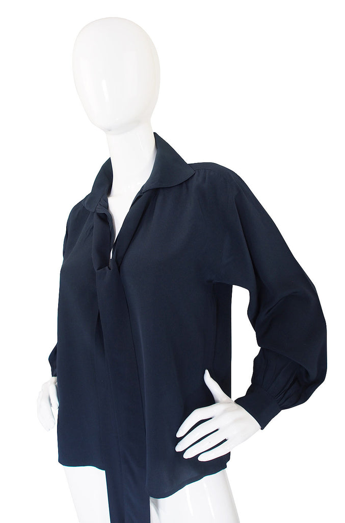 1970s Navy Silk Yves Saint Laurent Top