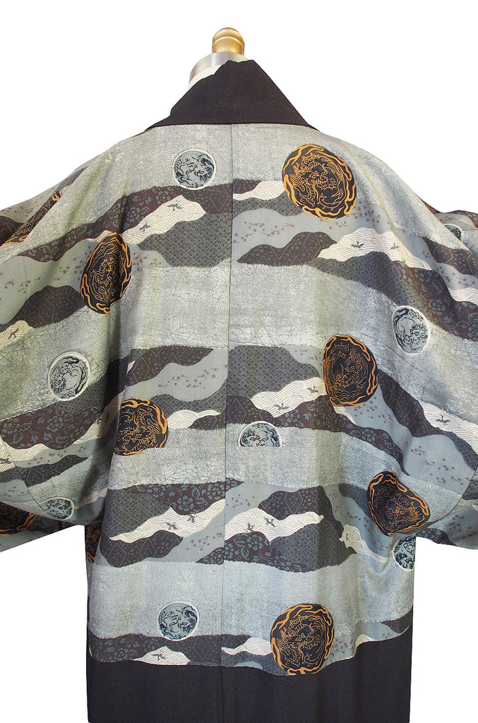 Treasure Item - 1950s Dragon Medallion Silk Kimono