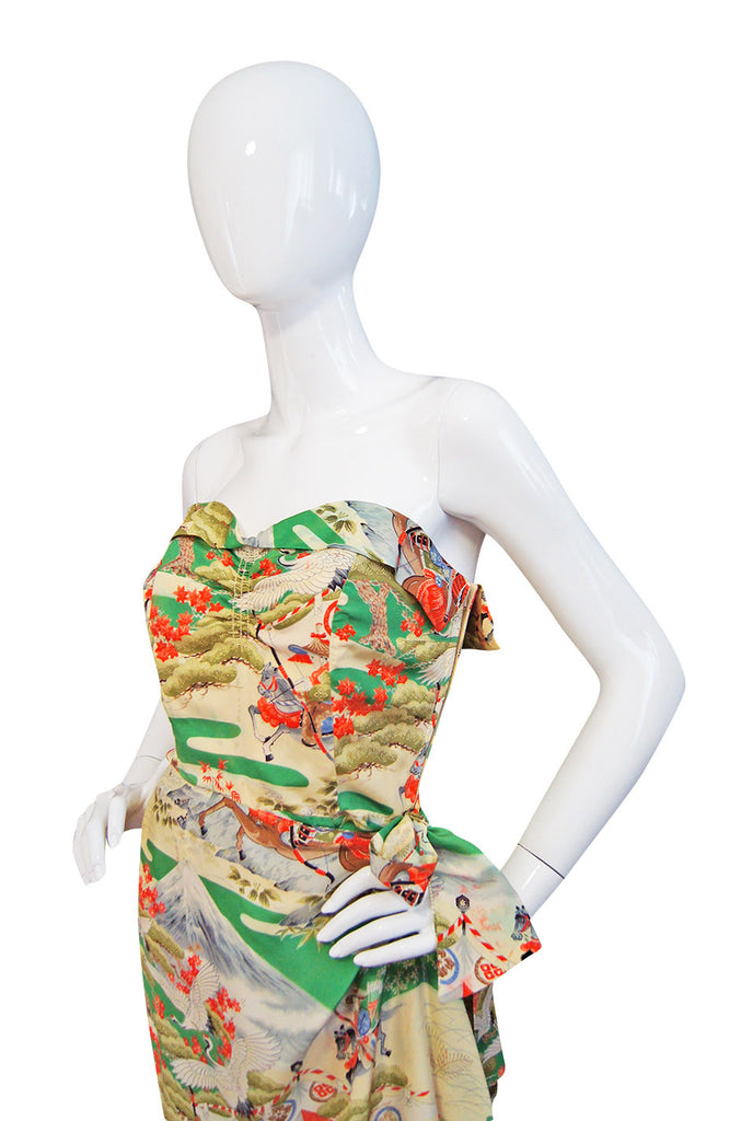 1940s Rare Hawaiian Wiggle Print Dress