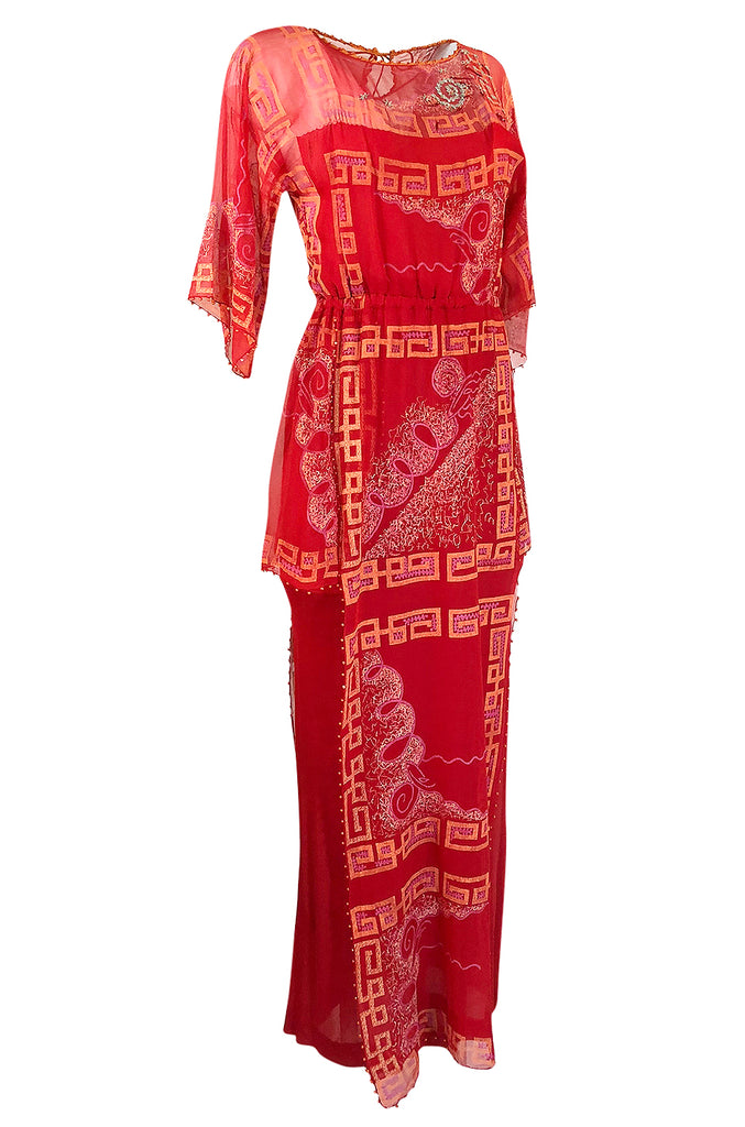 1979 Zandra Rhodes Book Piece 'Chinese Squares' Printed Red Silk Chiffon Dress