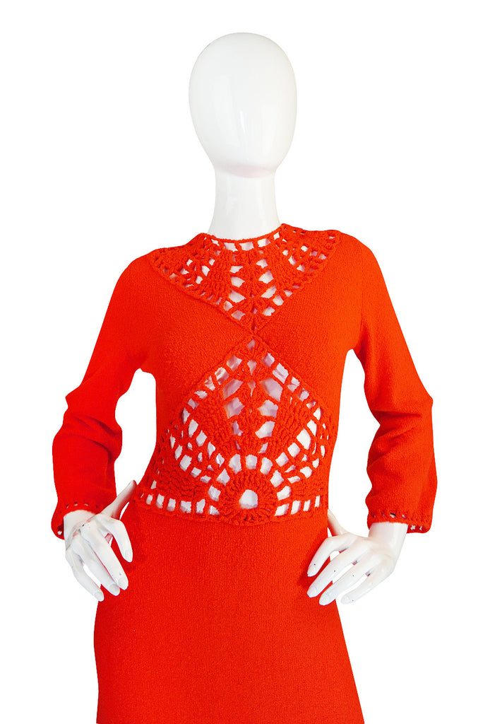 1970s Open Weave Cut Out Crochet Red Knit Dress