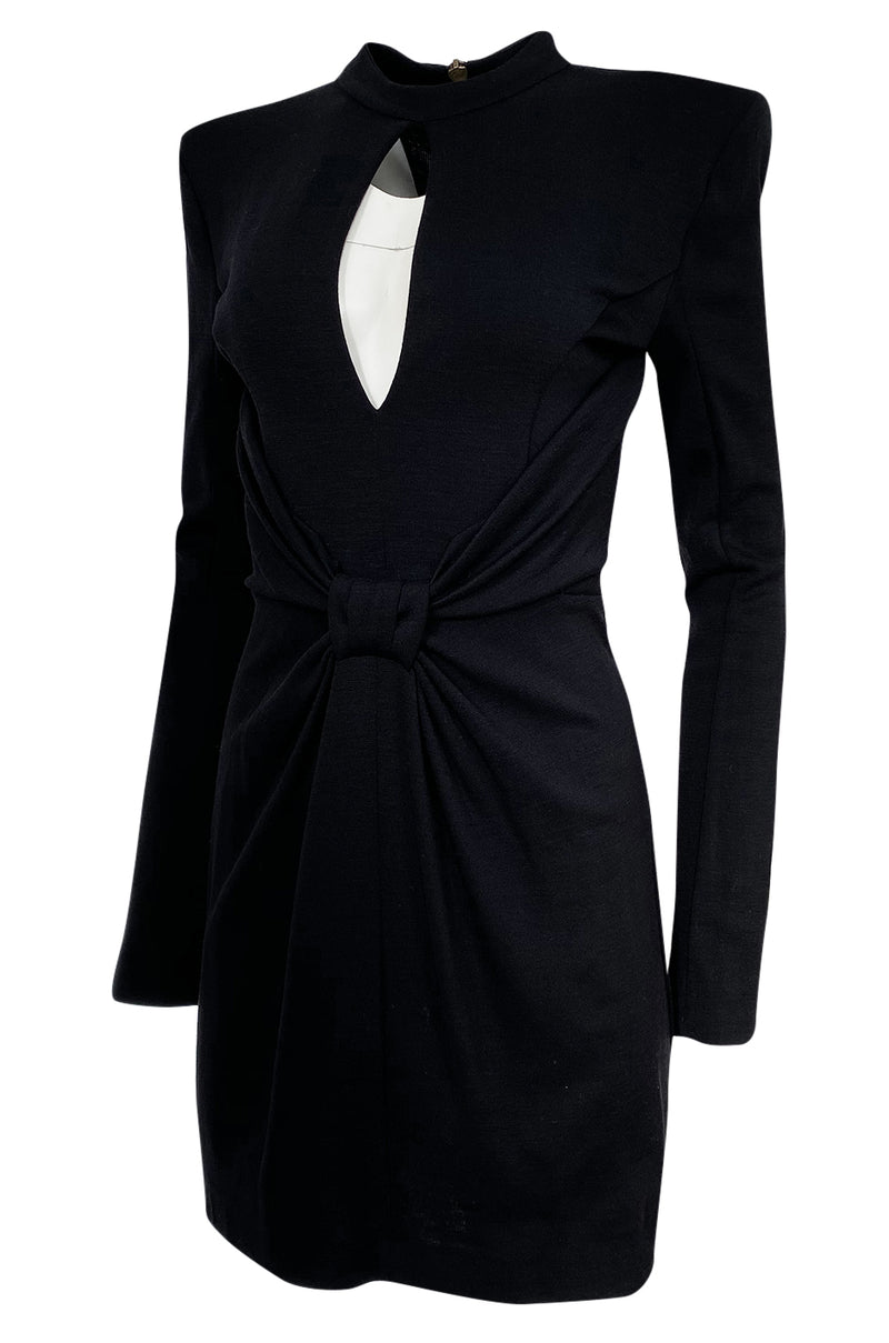 2010s Balmain Black Jersey Dress w Strong Shoulders, Front Knot & Keyhole