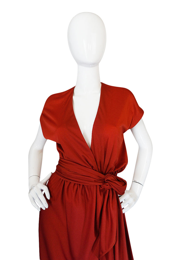 1970s Halston IV Rust Colored Jersey Wrap Dress