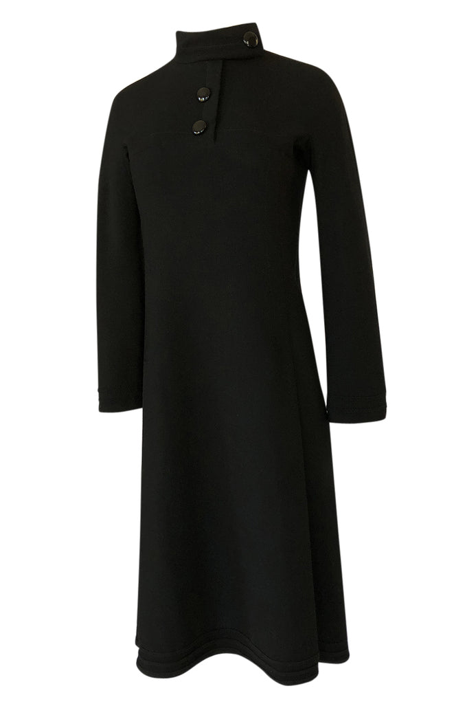 1960s Pierre Cardin Chic Sculpted Black Wool Button Detail Dress