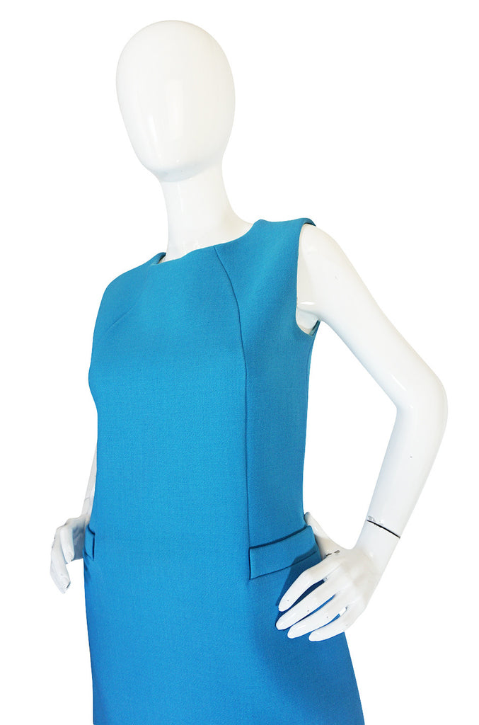 1960s Norman Norell Beautiful Blue Shift Dress