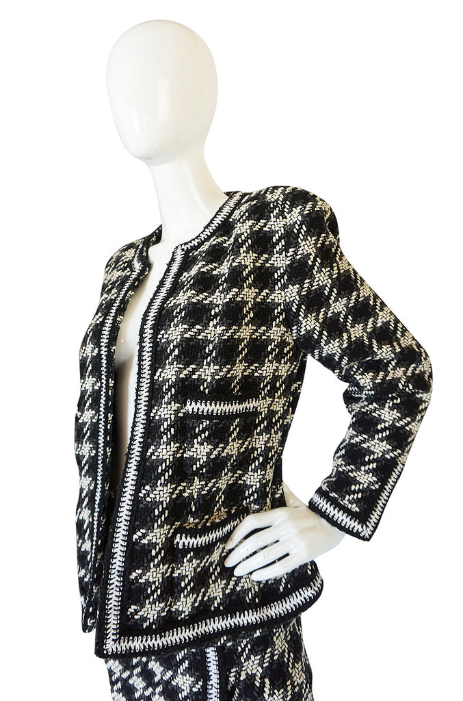Rare 1980s Graphic Boucle Chanel Midi Length Skirt Suit