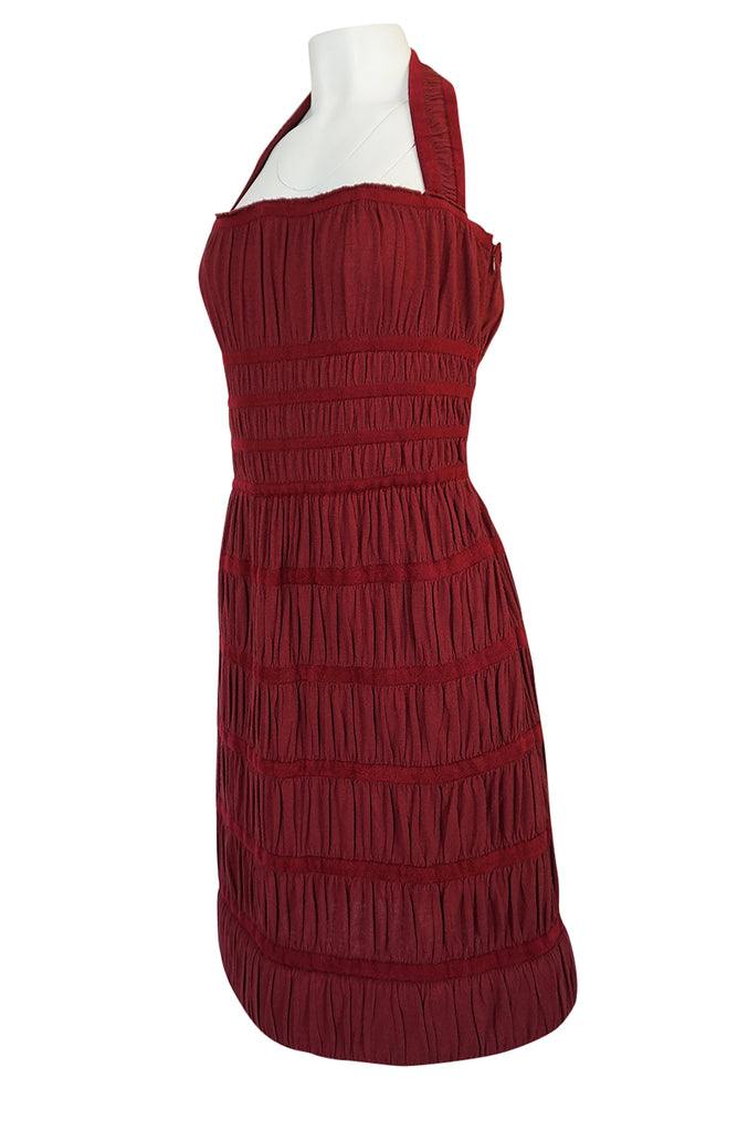 F/W 2009 Azzedine Alaia Burgundy Silk & Chenille Knit Dress