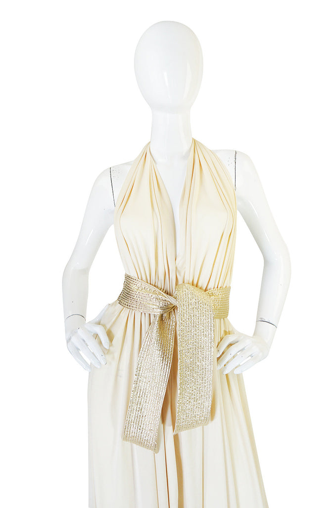1970s Bill Tice Plunge Cream & Gold Backless Dress