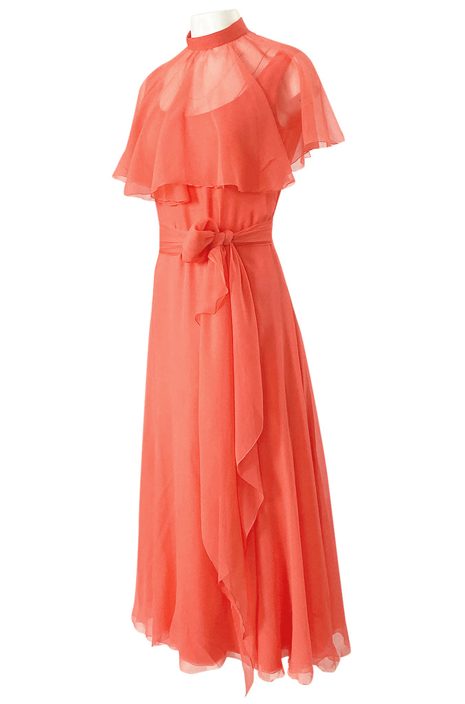 Prettiest 1970s George Stavropoulos Coral Silk Chiffon Dress Capelet & Sash