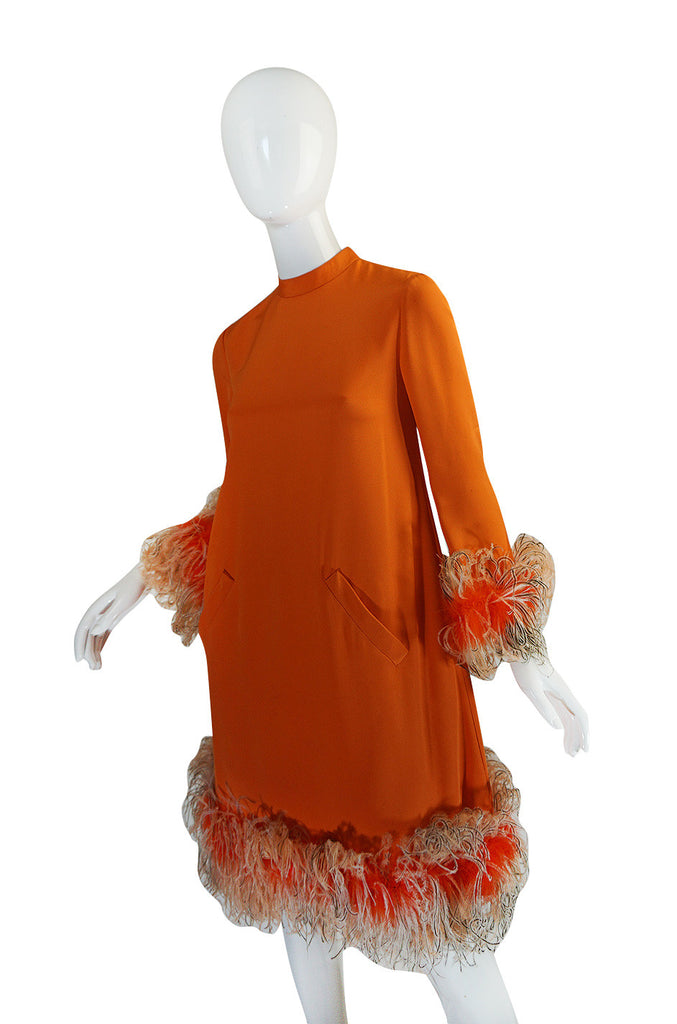 Spectacular 1960s Geoffrey Beene Silk & Feather Dress