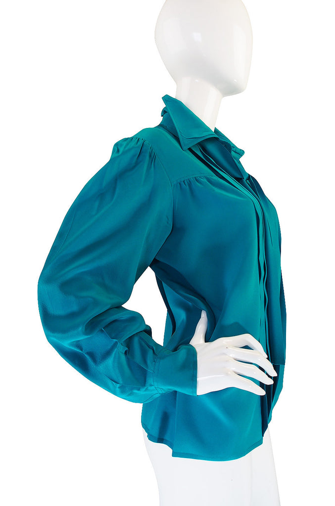 1970s Teal Green Yves Saint Laurent Silk Top