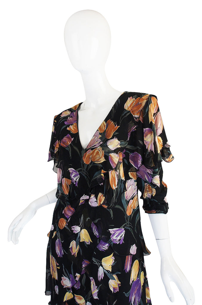 1970s Holly Harp Tiered Silk Print Dress