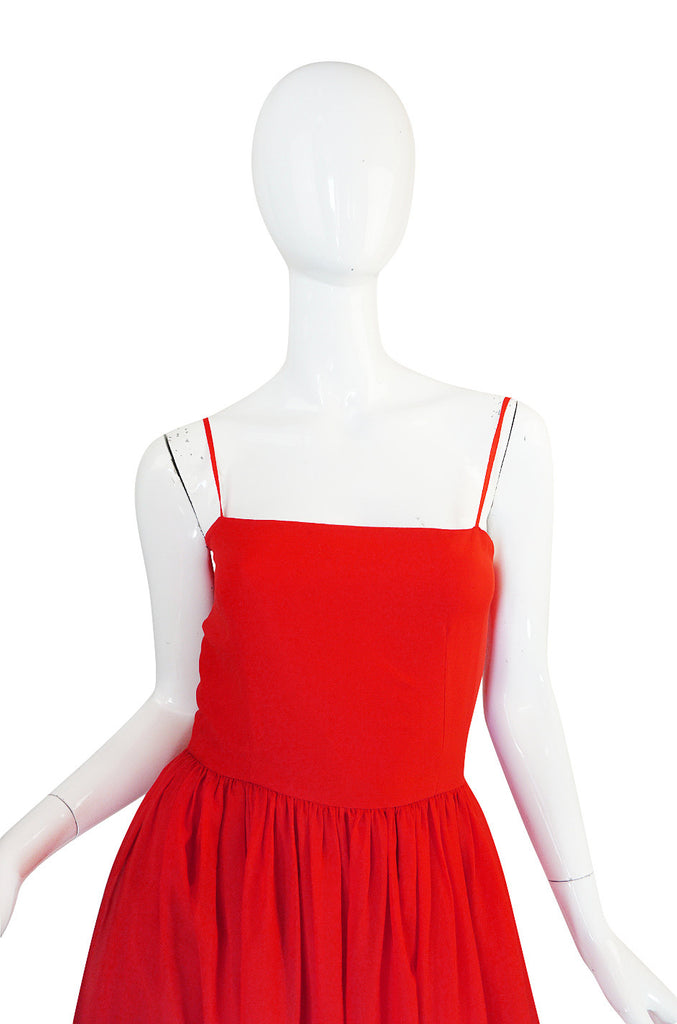 Beautiful 1970s Red Silk and Chiffon Lanvin Dress