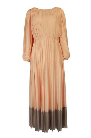 c.1961 Galanos Couture Pleated Peach & Taupe Silk Chiffon Dress