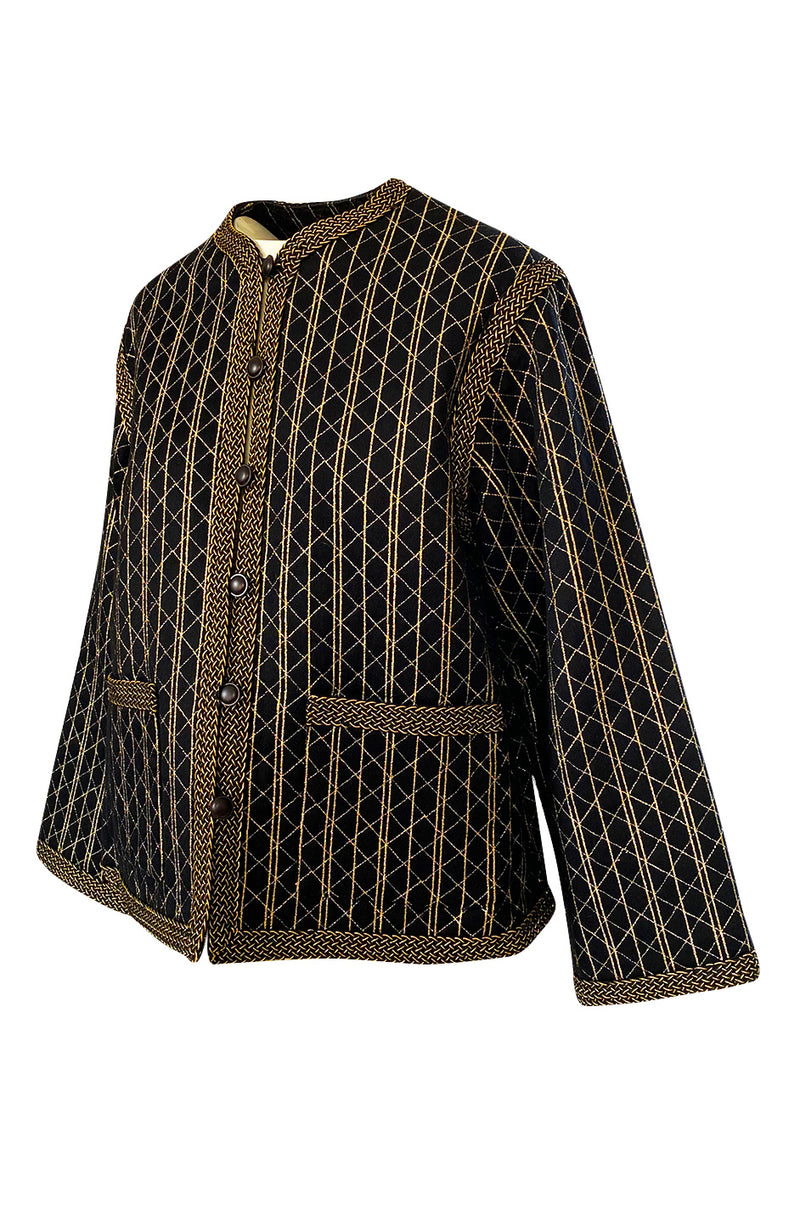 Incredible 1970s Yves Saint Laurent Gold Metallic Top Stitched Jacket
