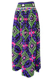 c.1974 Lanvin Bright Purple & Green Printed Jersey Full Length Maxi Skirt