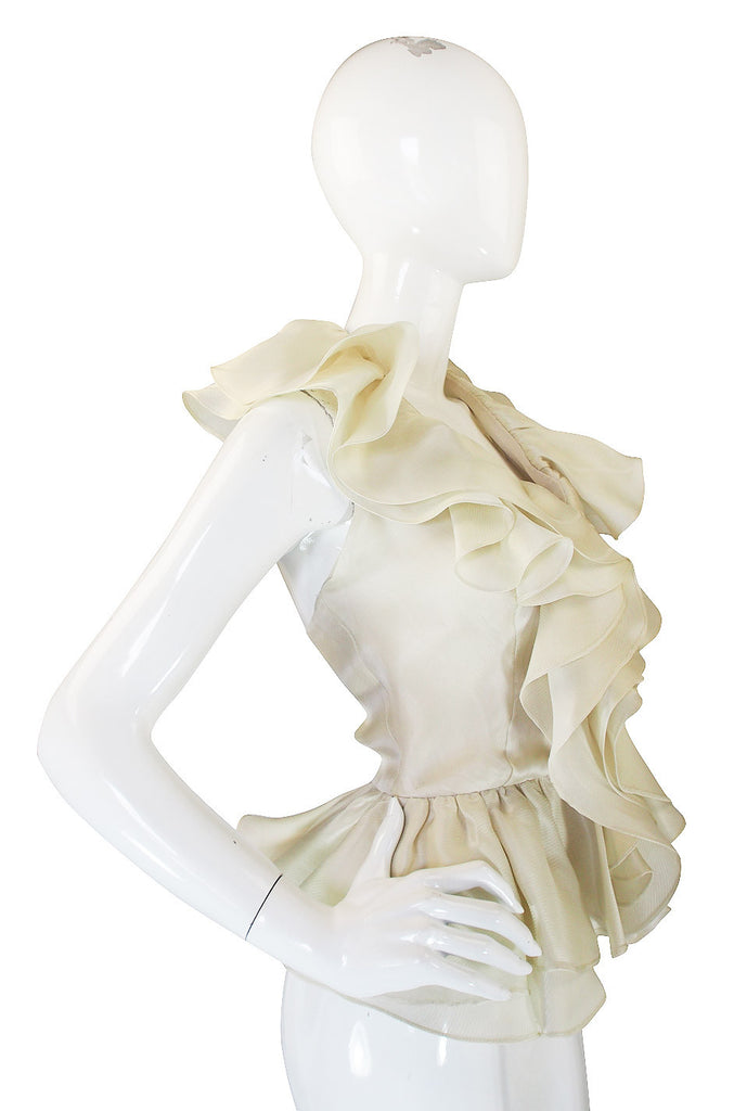 1970s Silk Organza Bill Blass Halter Top