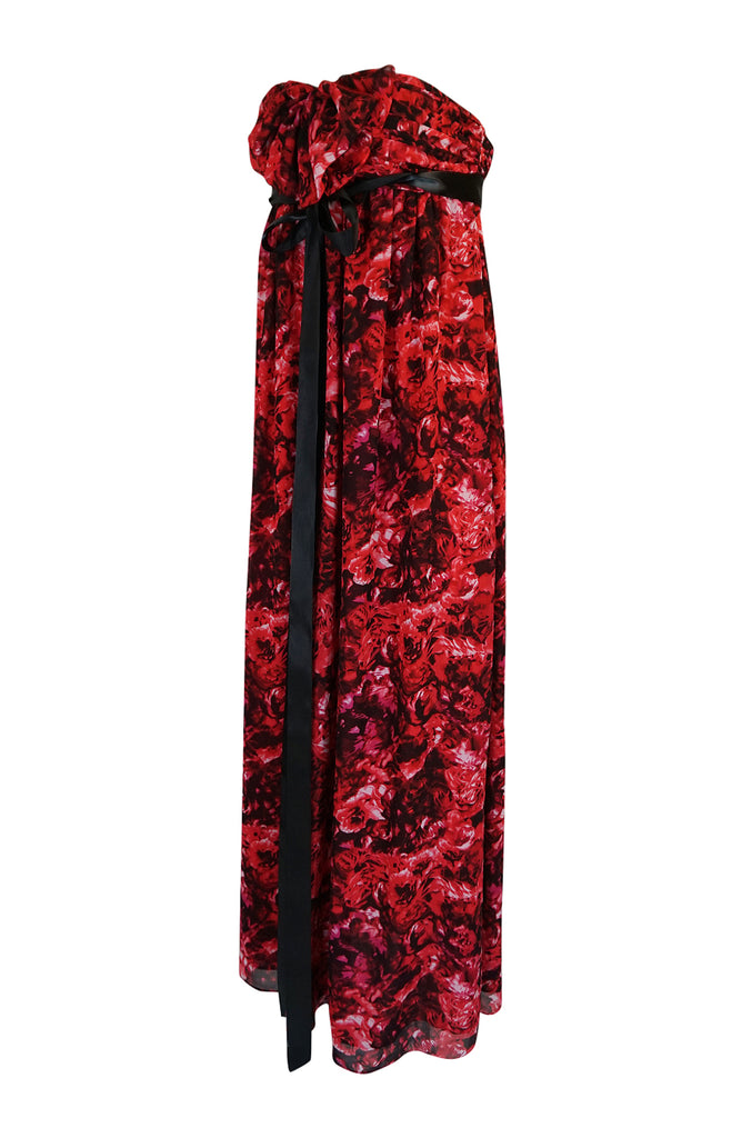 Recent Giambattista Valli Impulse Red Floral Strapless Dress