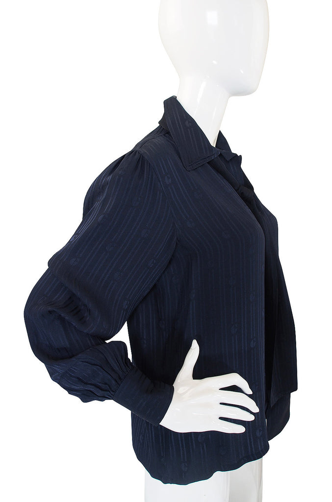 1970s Blue Silk Givenchy Top