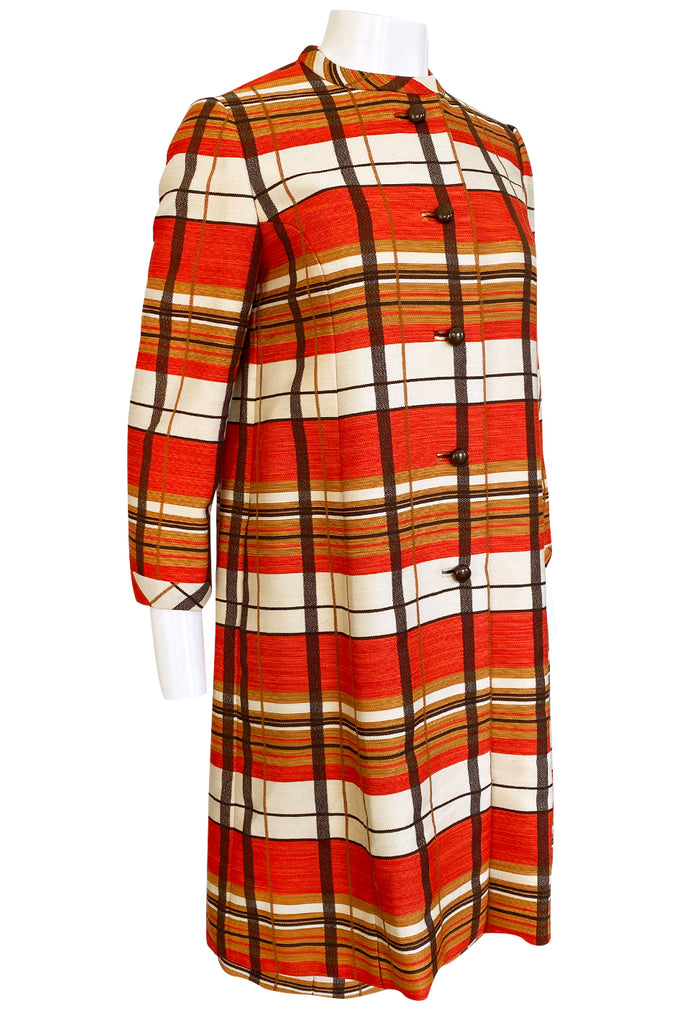 1967 Jacques Tiffeau Orange Plaid Skirt & Matching Coat Suit Set