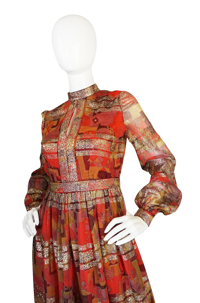 1960s Metallic Malcolm Starr Printed Organza Dress