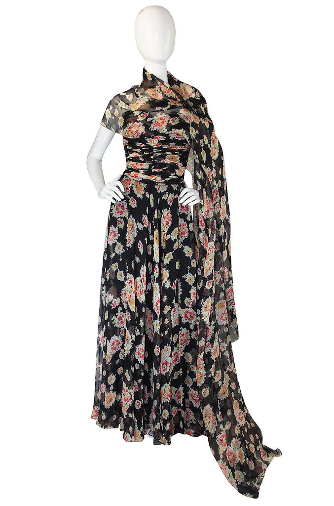 Stunning 1980s Bruce Oldfield Silk Gown & Shawl