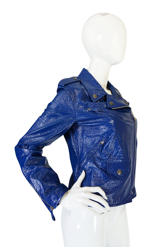 1990s Moschino Blue Patent Motorcycle Jacket