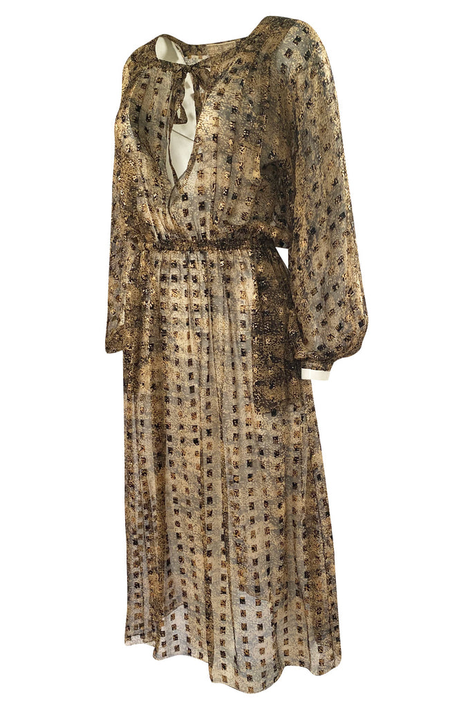 1970s Holly's Harp Silk Ribbon Chiffon Taupe & Black Print Dress