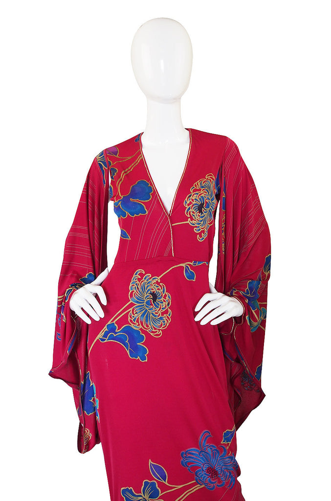 1970s Leonard Angel Sleeve Caftan Dress