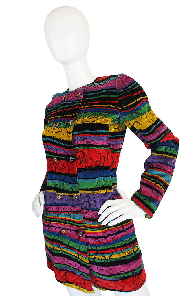 Early 1980s Ungaro Multi Color Velvet Jacket