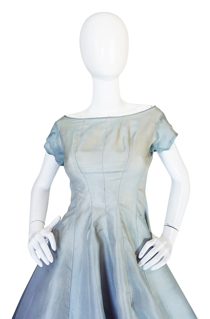 1950s Ice Blue Silk Organza Suzy Perette Dress