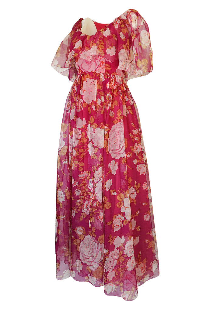 1960s Jean Louis Demi-Couture Silk Chiffon Dress w Caped Bodice