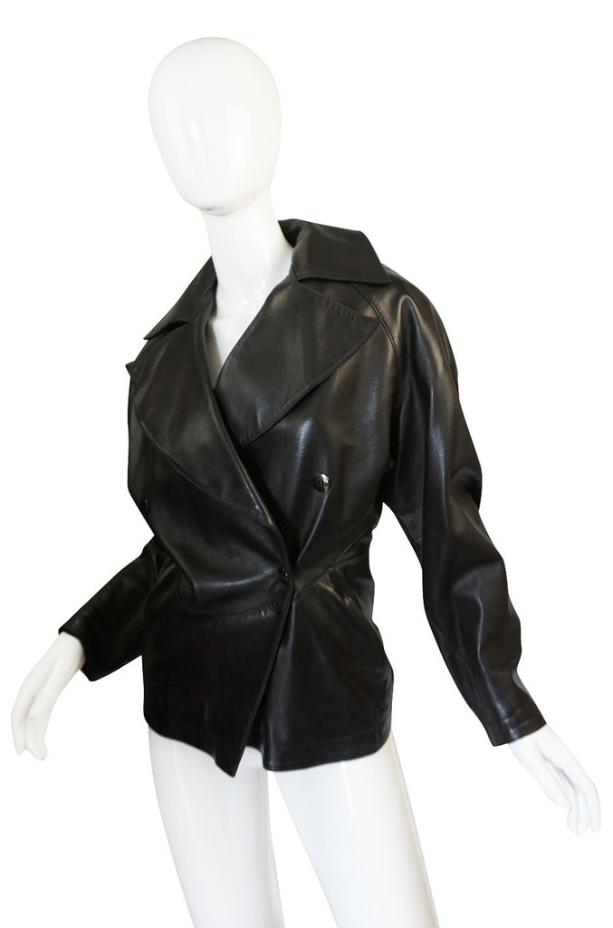 1980s Azzedine Alaia Fitted Black Leather Biker Jacket