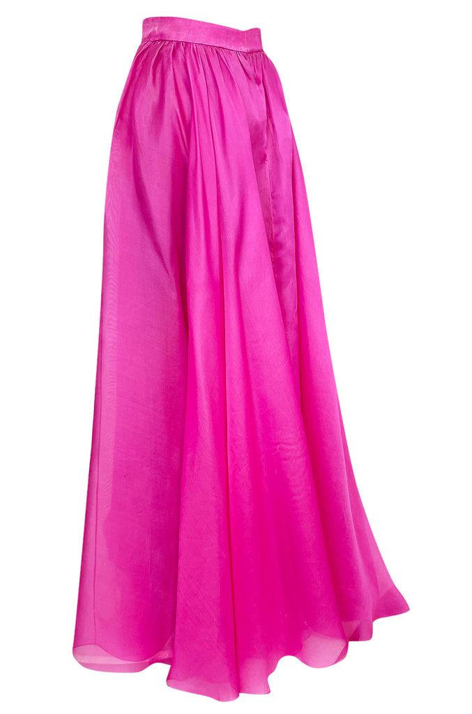 Numbered c.1979 Givenchy Vivid Pink Silk Organza Full Length Maxi Skirt