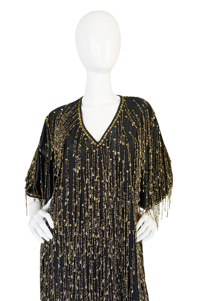 Incredible 1970s Completely Gold Beaded Fringe Black Caftan