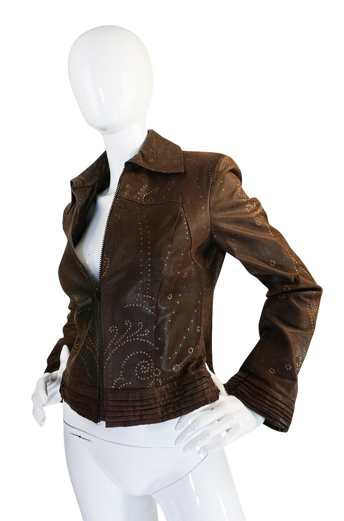 1980s Hand Painted Roberto Cavalli Leather Jacket