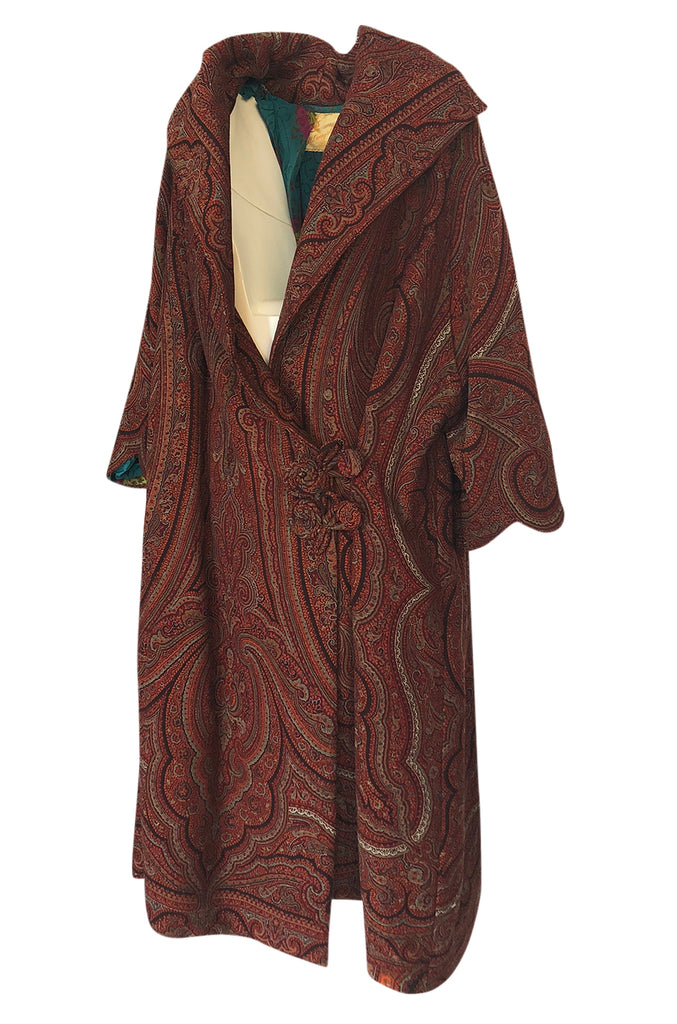 1920s Paisley Shawl Flapper Coat w Blue & Pink Printed Silk Lining